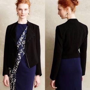 Elevenses black open jacket with lace frill trim